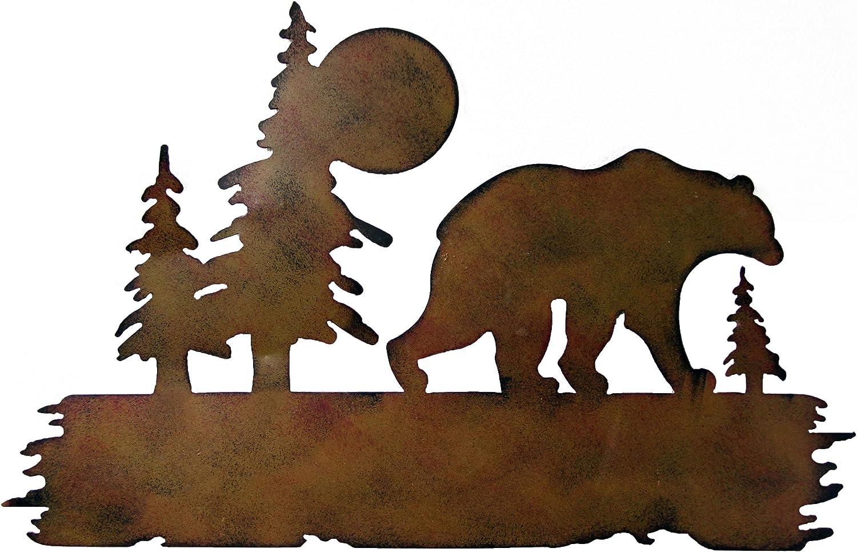 """Bear Art,Bear Wilderness Wall Art, Metal Bear Wall Art, Bear Wall Decoration, Metal Decoration 16""""L x 25""""W"""