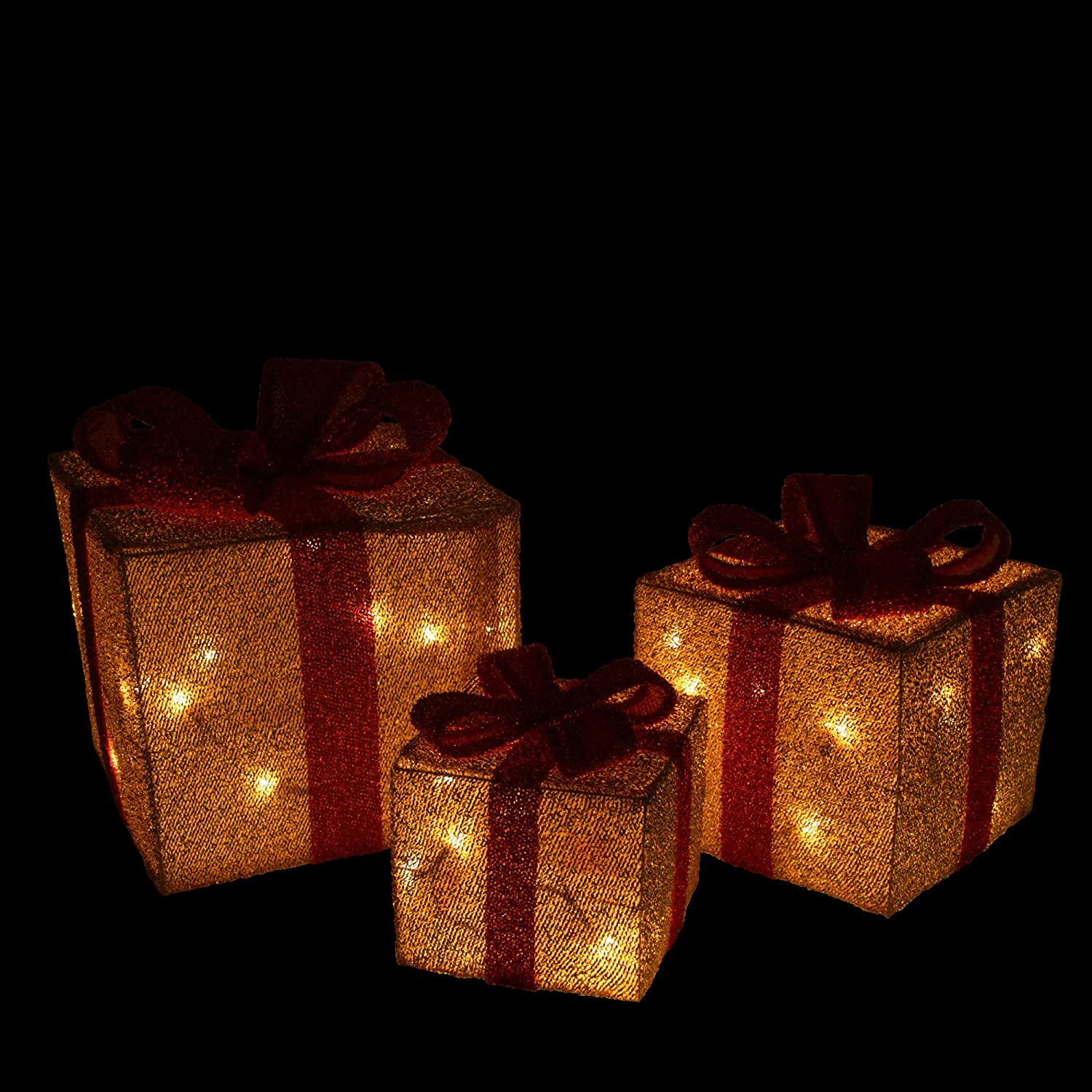 Northlight Set of 3 Gold Tinsel Gift Boxes with Red Bows Lighted Christmas Outdoor Decorations