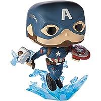 Funko Pop! Marvel: Avengers Endgame - Captain America with Broken Shield & Mjoinir,Multicolor,3.75 inches