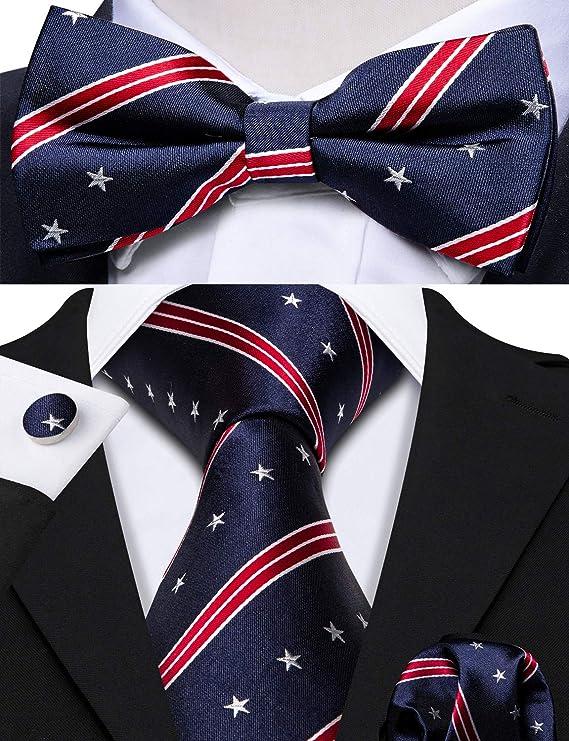 Barry.Wang Men Stripe Plaid Bow Tie Set Pocket Square Cufflink Silk Adjustable Self Bowtie Formal