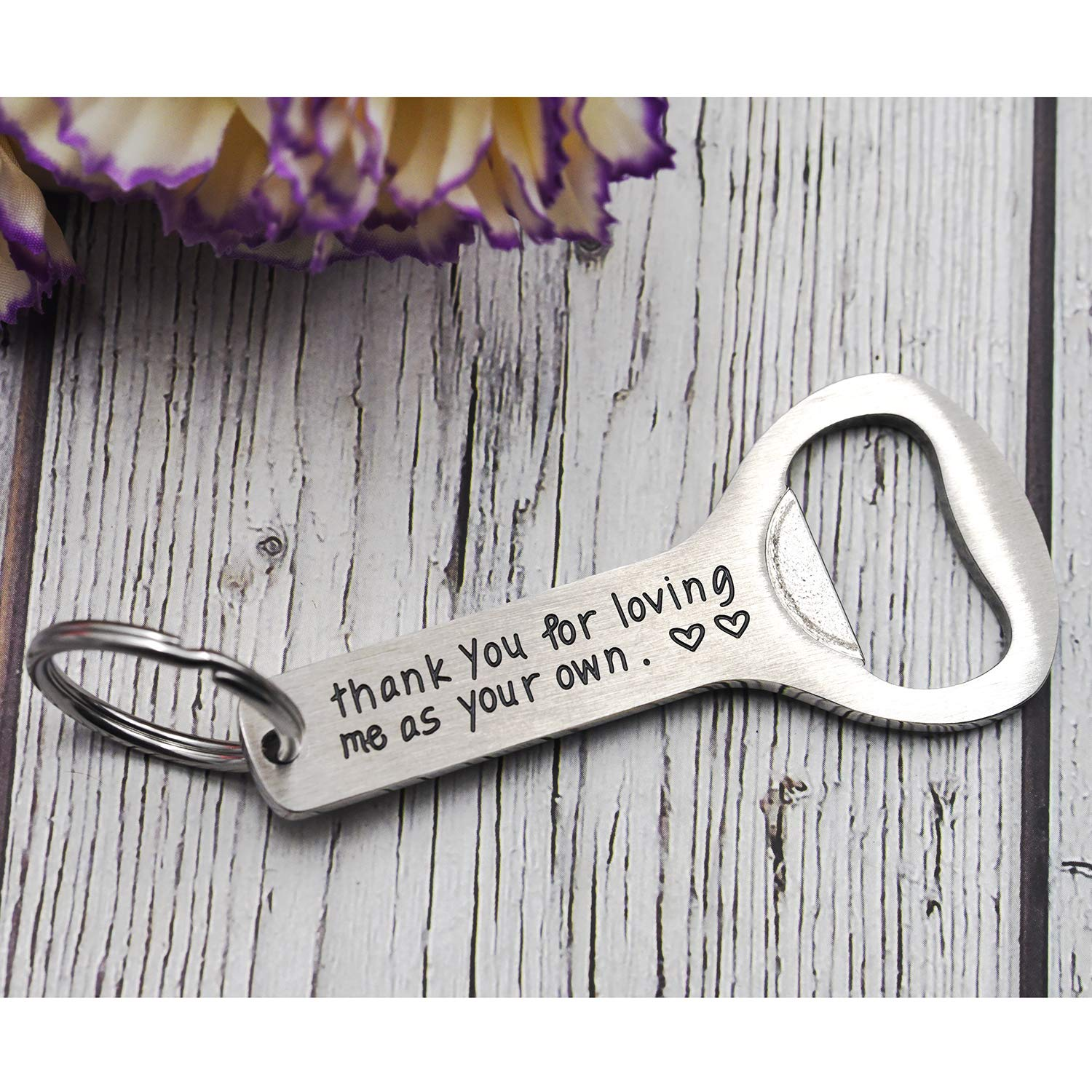 Melix Home Thank You for Loving Me As Your Own Bottle Opener Keychain Stepfather Gift for Stepdad Step Dad Bottle Opener