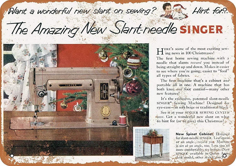 Snowae Cartel de Metal para máquina de Coser Singer, de Aluminio Resistente al óxido, para decoración del hogar ...