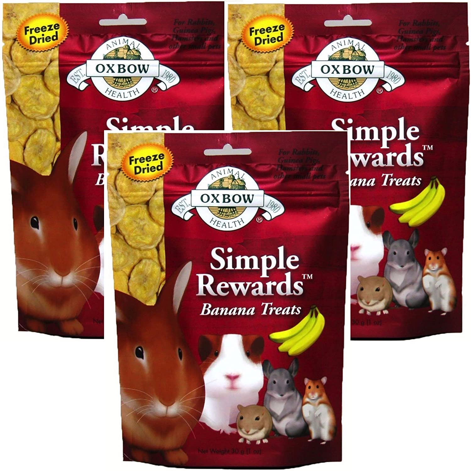 Oxbow SIMPLE REWARDS Treats - Rabbits Guinea Pigs Chinchillas BANANA 1 oz 3 PACK