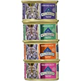 Blue Buffalo Wilderness Grain-Free Variety Pack Cat Food - 4 Flavors (Salmon, Duck, Turkey, and Chicken) - 12 (3 Ounce) Cans - 3 of Each Flavor