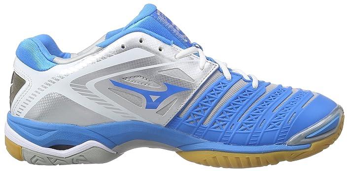 Amazon.com | Mizuno AW14 Wave Stealth 3 Indoor Shoes - Womens - White/Blue  - UK 8 | Fitness \u0026 Cross-Training