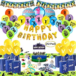 Birthday Party Supplies for Game Lovers, 142 pcs Gaming Theme Party Decorations - include Balloons, Party Favors Bags, Table Cover, Bracelets, Banner, Stickers, Cake Toppers