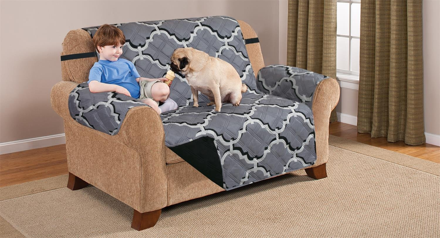 Deluxe Reversible LoveSeat Furniture Protector, ODYSSEY GREY / BLACK