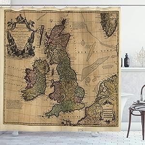 "Ambesonne Wanderlust Shower Curtain, British Islands Scotland England European History Britain Grungy Art, Cloth Fabric Bathroom Decor Set with Hooks, 84"" Long Extra, Brown Green"
