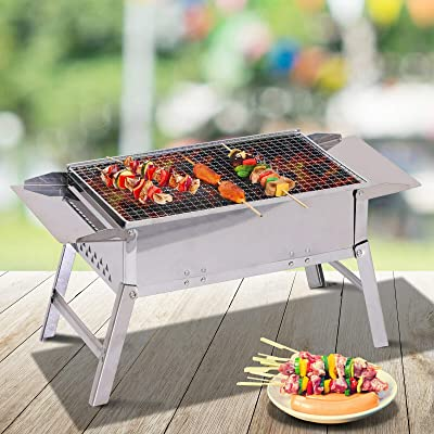 "SP Stainless Steel Foldable Camping Charcoal Tabletop Barbeque Size 22"" x 11"": Garden & Outdoor"