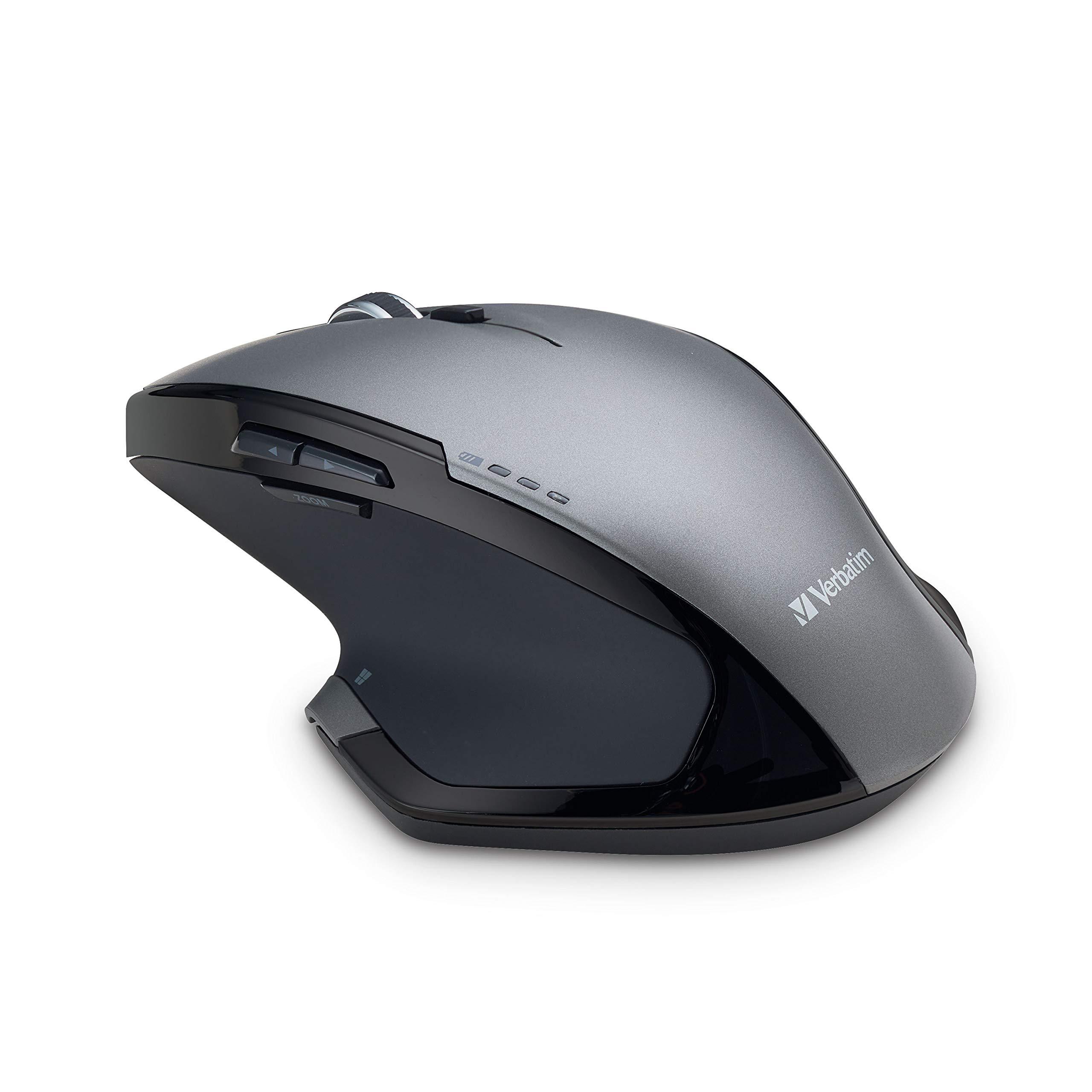 Verbatim Wireless Desktop 8-Button Deluxe Mouse - Ergonomic, Blue LED, Portable Mouse for Mac and Windows – Black (98622),Graphite