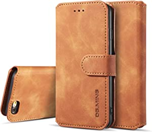 UEEBAI PU Leather Case for iPhone 6 Plus iPhone 6S Plus, Vintage Retro Premium Wallet Flip Cover TPU Inner Shell [Card Slots] [Magnetic Closure] Stand Function Folio Shockproof Full Protection - Brown