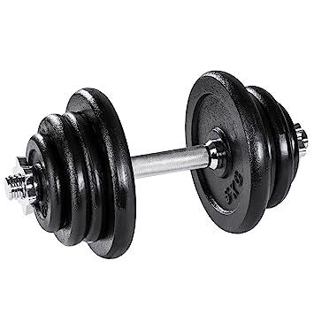 TecTake Mancuerna con pesas halteras de fitnes acero hierro ...