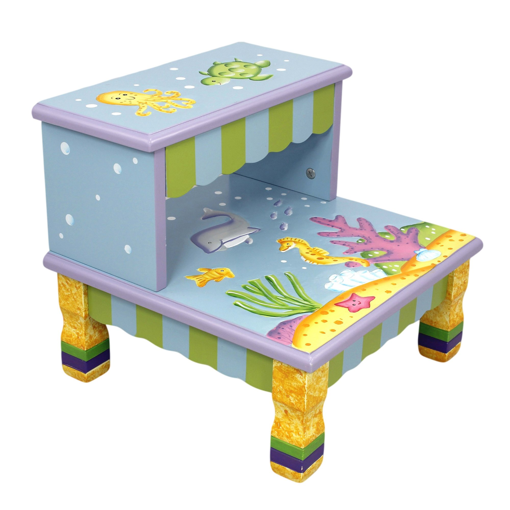 Fantasy Fields - Under The Sea Thematic Kids Wooden Step Stool with Storage | Imagination Inspiring Hand Crafted & Hand Painted Details   Non-Toxic, Lead Free Water-based Paint