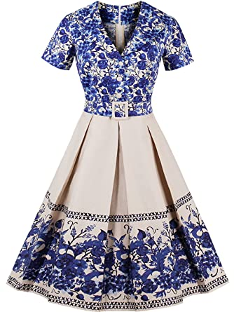 Womens Vintage Short Cocktail Dress Retro Style Gown,Blue,S