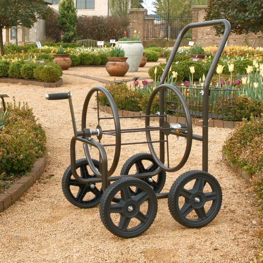 Liberty Garden Products 871 S Residential Grade 4 Wheel Garden Hose Reel  Cart, Holds 250 Feet ...