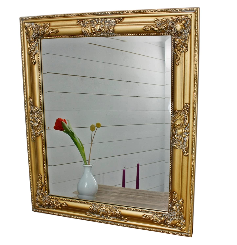 elbmöbel Spiegel Wandspiegel 62x52cm in der Farbe Gold mit Holz ...