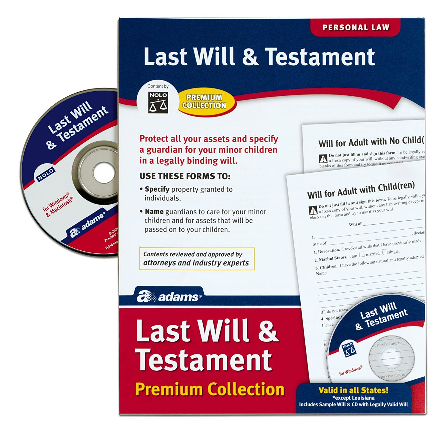 Amazon adams last will and testament with cd forms and amazon adams last will and testament with cd forms and instructions alfp117 legal forms office products falaconquin