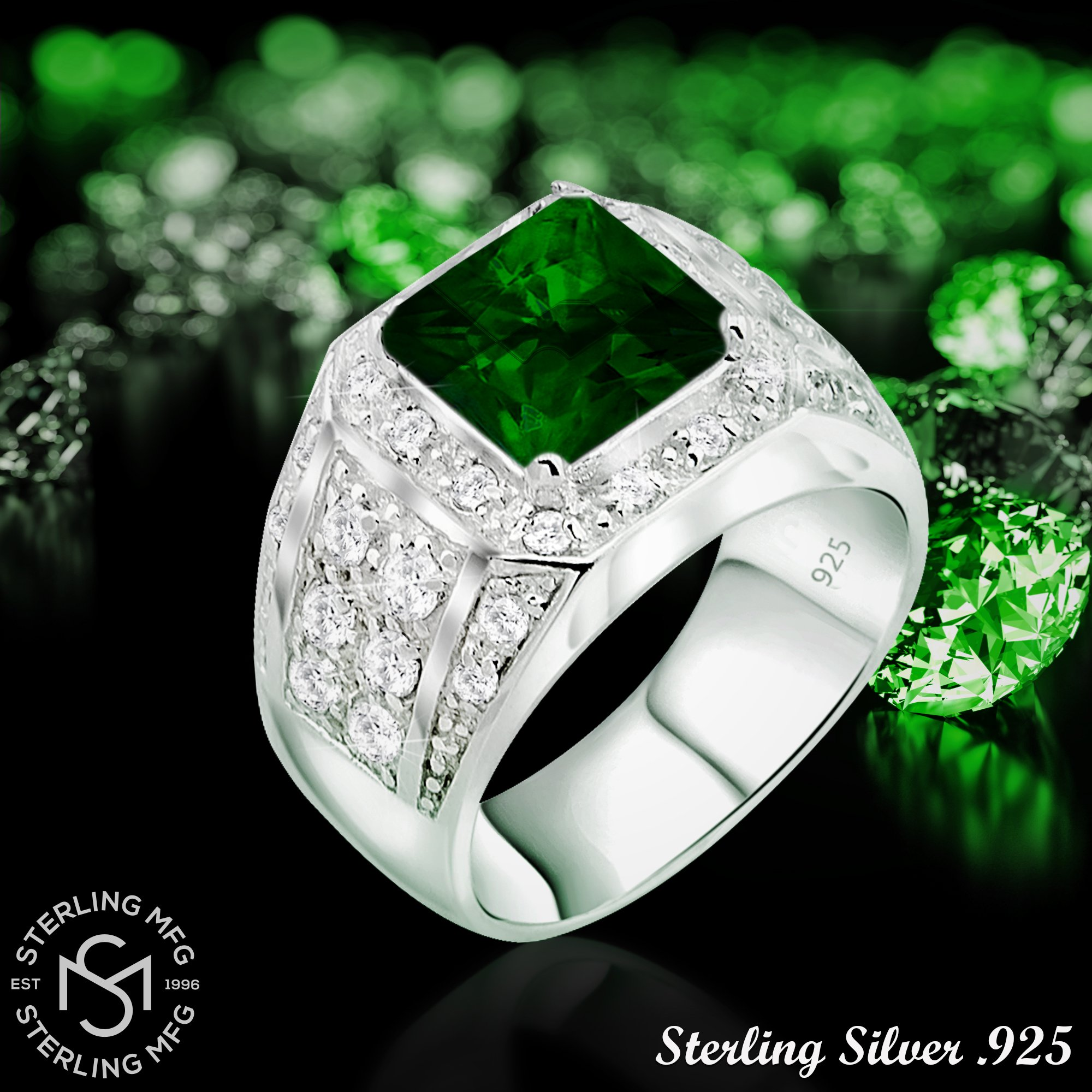 Men's Elegant Sterling Silver .925 Ring High Polish Princess Cut Featuring a Synthetic Green Emerald and 32 Fancy Round Cubic Zirconia (CZ) Stones by Sterling Manufacturers (Image #6)