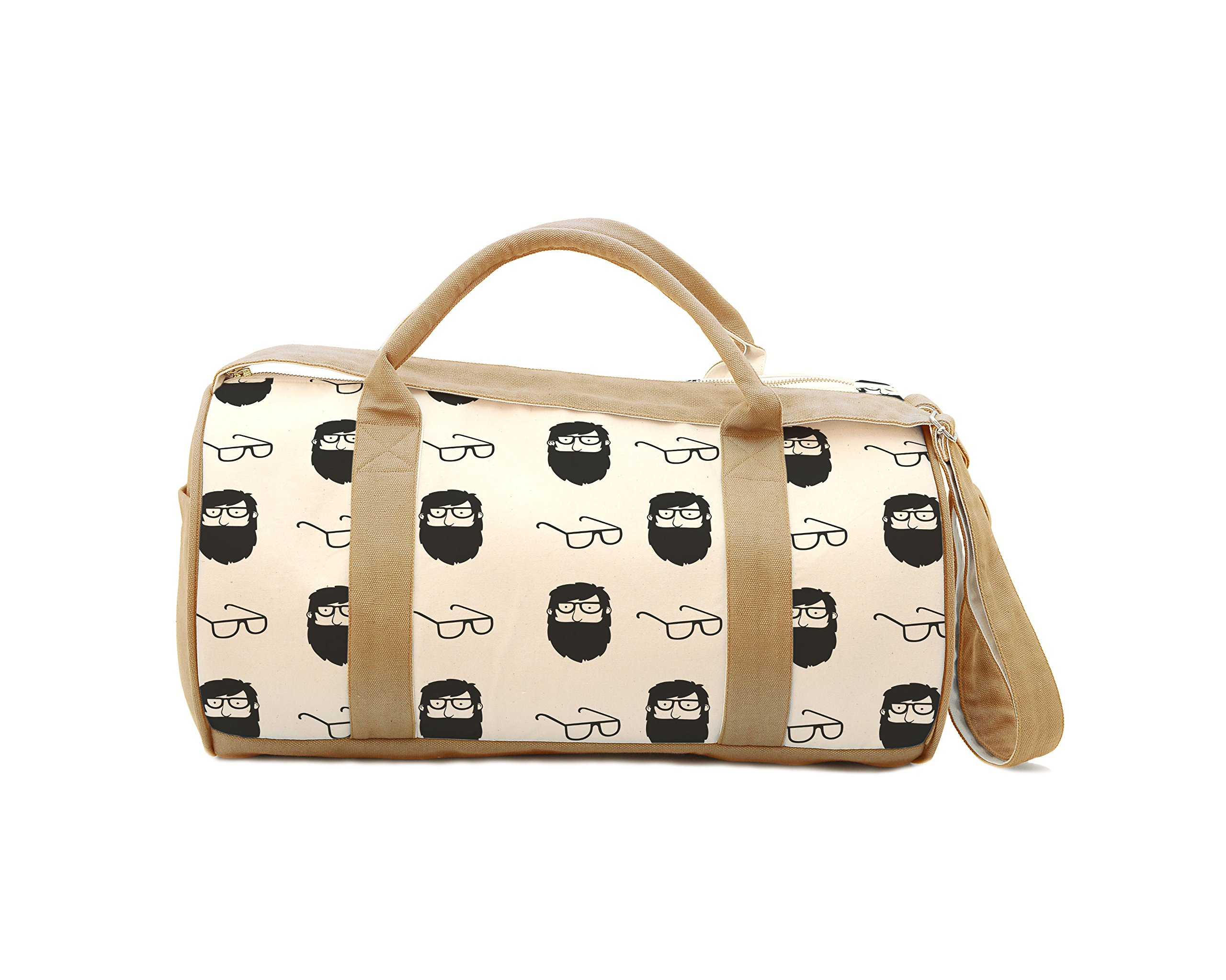 Women Black White Old Man With Beard & Glasses Printed Canvas Travel Duffle Bag WAS_47