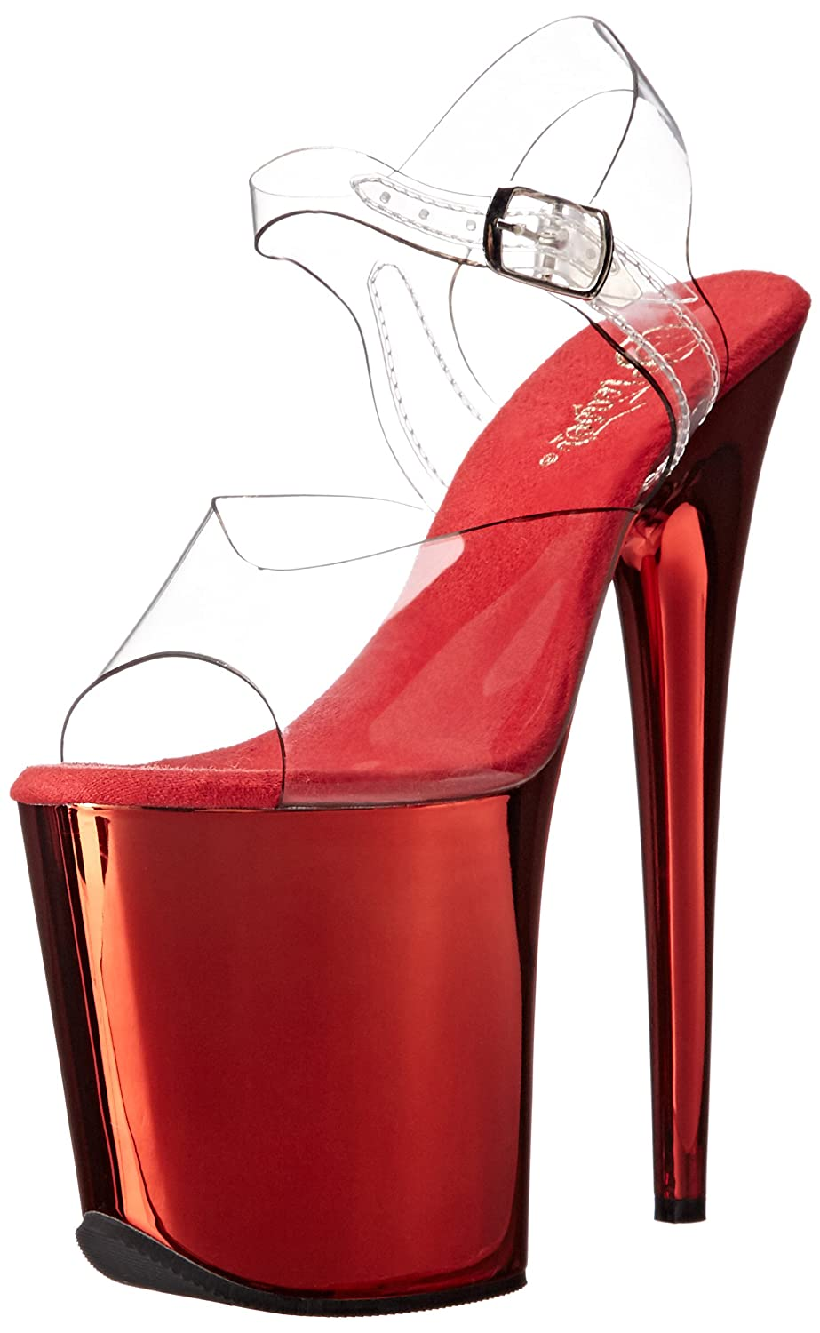 Pleaser Women's FLAM808/C/RCH Platform Dress Sandal B017U9OJK0 11 B(M) US|Clear/Red Chrome