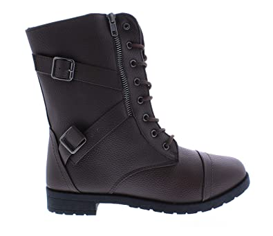 ae07a6d33521a Amazon.com | Via Rosa Wide Calf Motorcycle Boots for Women, Military Lace  Up Combat Boot, Biker Booties | Boots