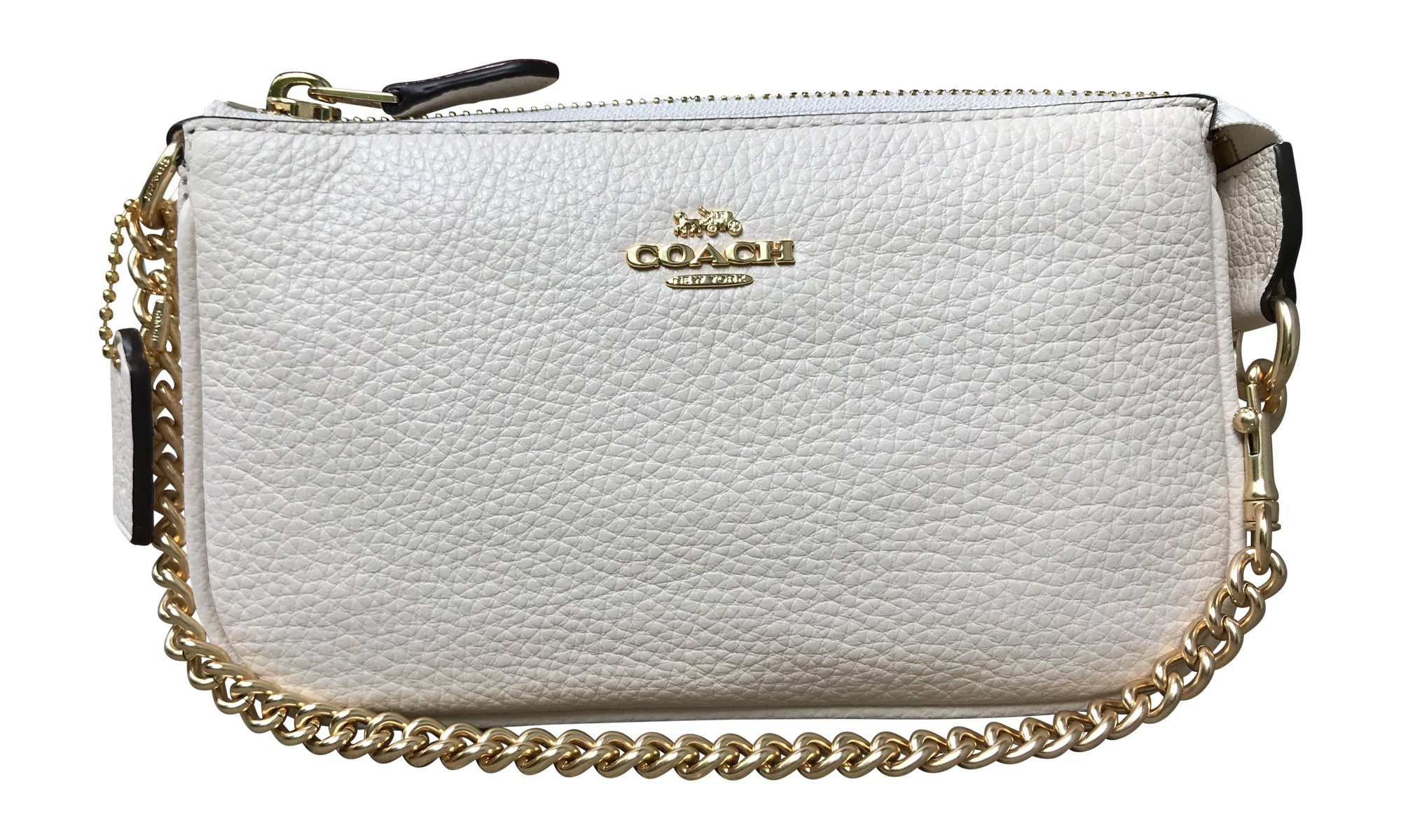Coach Pebbled Leather Large Wristlet 19, Chalk by Coach