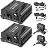 Neewer® 2 Pack 1- Channel 48V Phantom Power Supply Black with Adapter and One XLR Audio Cable for Any Condenser…
