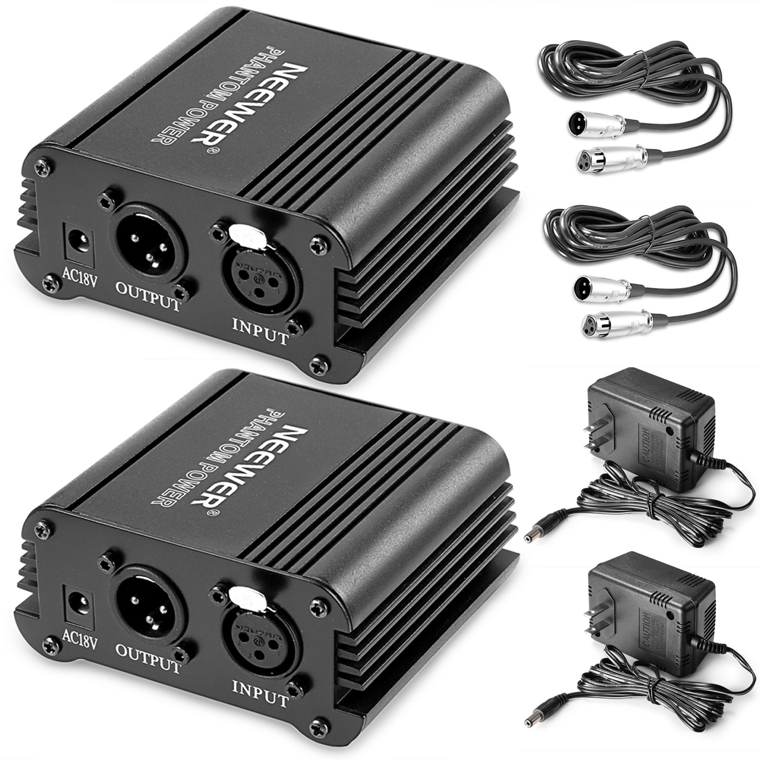 Neewer® 2 Pack 1- Channel 48V Phantom Power Supply Black with Adapter and XLR Audio Cable for Any Condenser Microphone Music Recording Equipment by Neewer