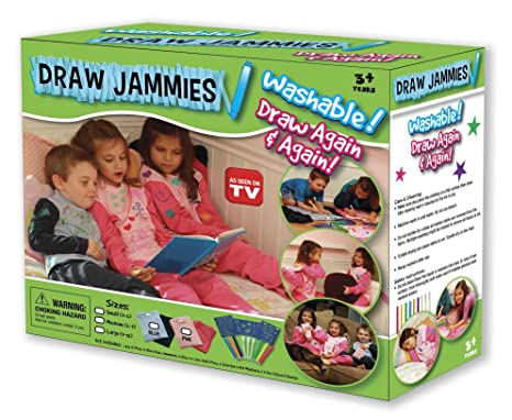 Draw Jammies Washable Pajamas Set for Kids with Magic Glow Pens, Scented Markers and Stencils
