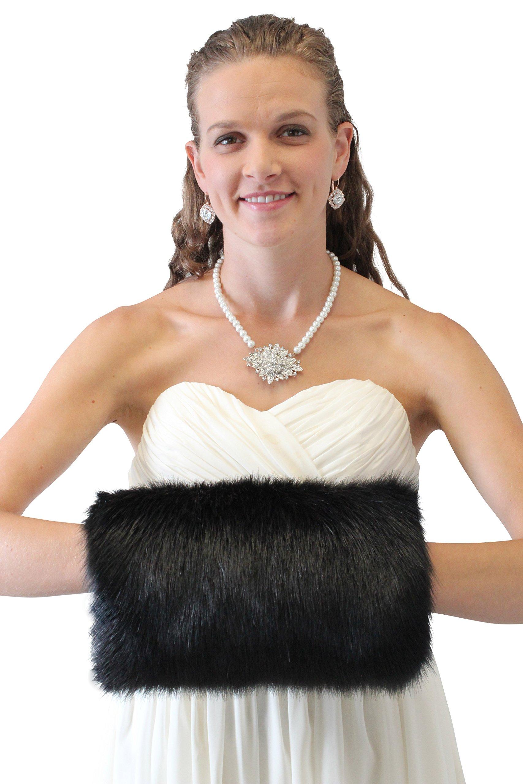 Tion Design Women's Bridal Fur Hand muff, Black Wedding Fur Warmer Large, MN