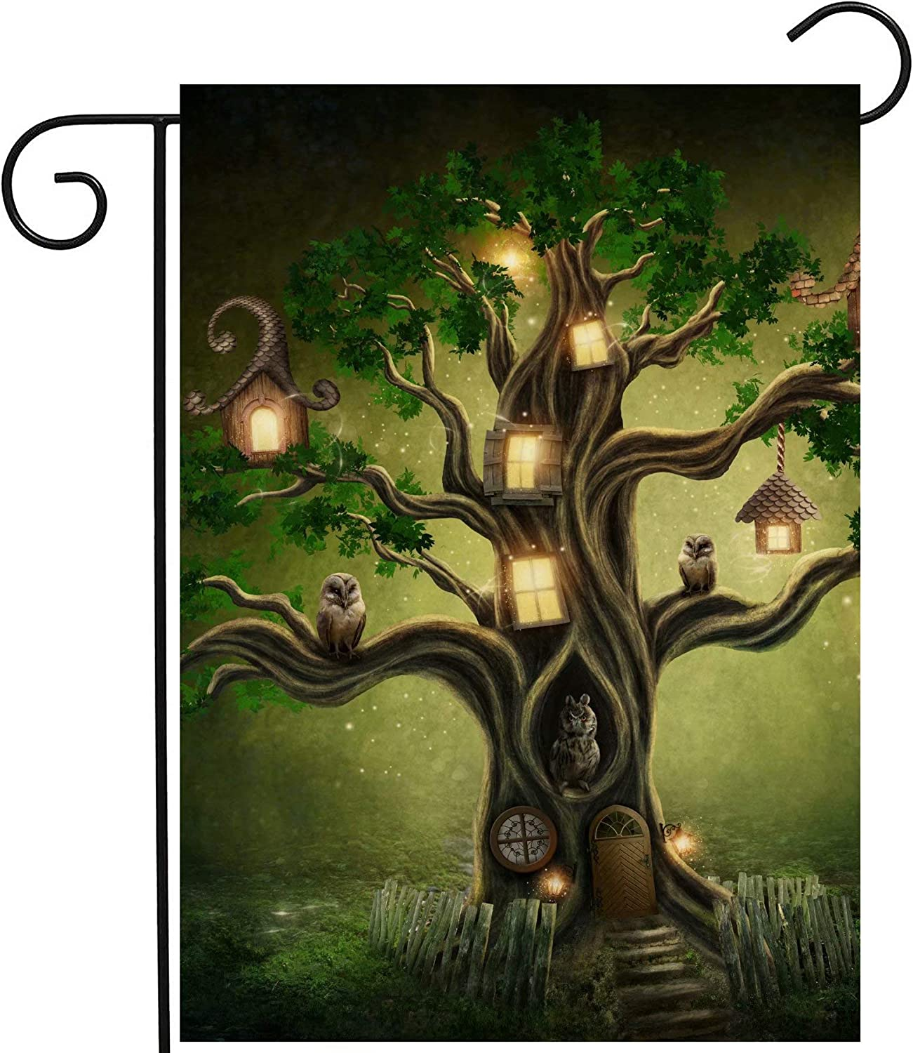 """ShineSnow Mysterious Tree Birds Owls Lantern House in Forest Fantastic Fairy Garden Yard Flag 12""""x 18"""" Double Sided, Polyester Welcome House Flag Banners for Patio Lawn Outdoor Home Decor"""
