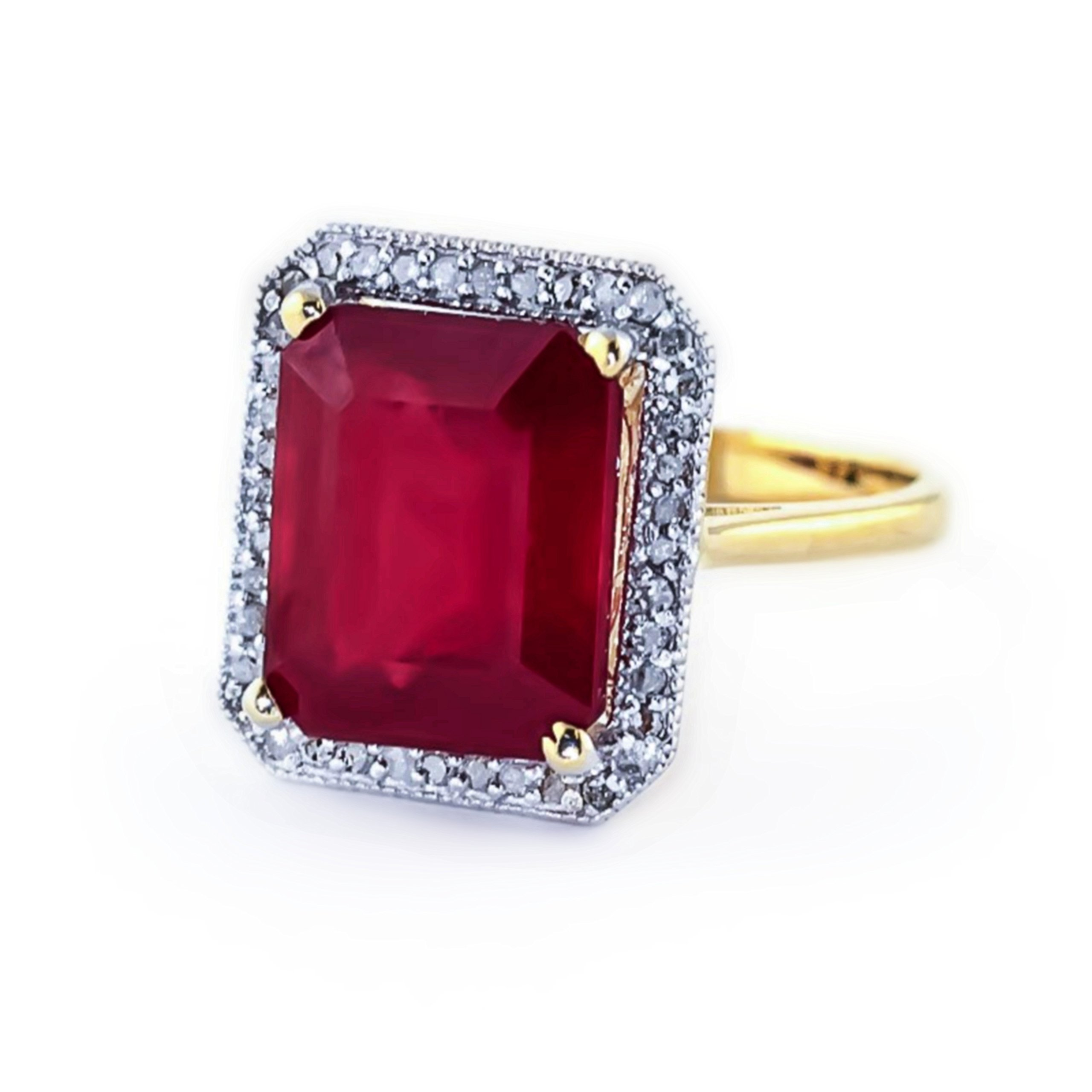 7.45 Carat 14K Solid White Rose Yellow Gold Emerald Cut Ruby Halo Design with Natural Diamond Ring 4894 (Yellow-Gold, 7.5) by Galaxy Gold
