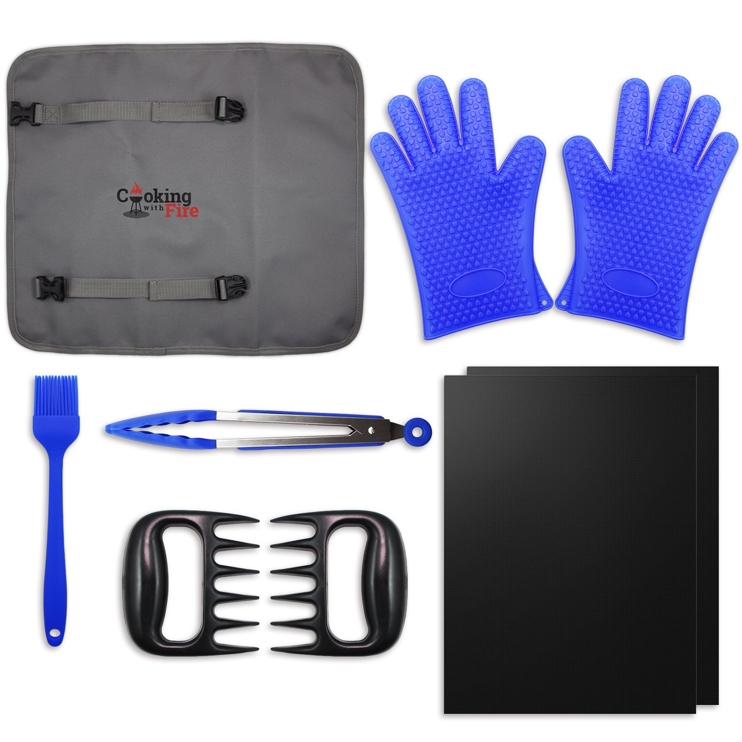 8 Piece Ultimate Grill / Smoker Set - Non-Stick Grilling Mats, Silicone Grilling Gloves, Meat Shredder Claws, Basting Brush, and Tongs with Reusable Travel / Storage Tote Mischief & Muse
