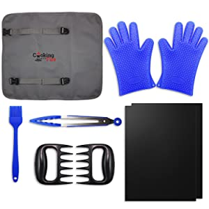 8 Piece Ultimate Grill / Smoker Set - Non-Stick Grilling Mats, Silicone Grilling Gloves, Meat Shredder Claws, Basting Brush, and Tongs with Reusable Travel / Storage Tote