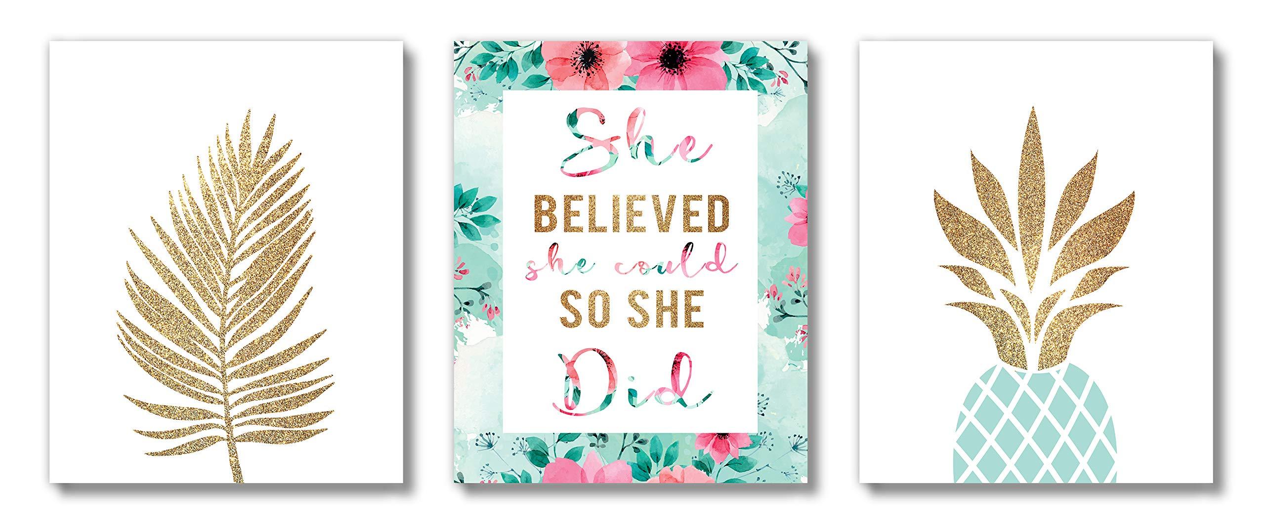 Brooke & Vine Inspirational Teen Girl Room Wall Decor Art Prints (UNFRAMED 8 x 10) Women, Tween, Kids Motivational Wall Art for Bedroom, Office, Home - Gold Palm Aqua Pineapple