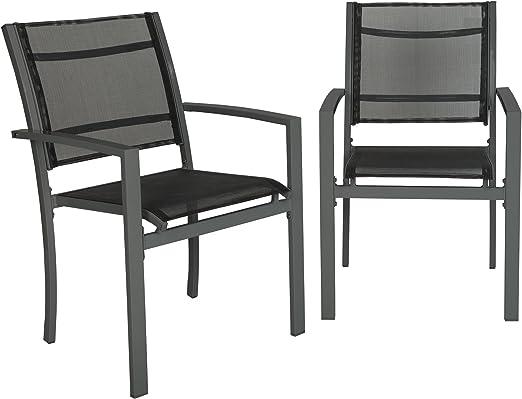 TecTake Juego de 2 Sillas de jardín sillón balcón terraza silla de exterior | varios modelos (gris oscuro | No. 402064): Amazon.es: Jardín