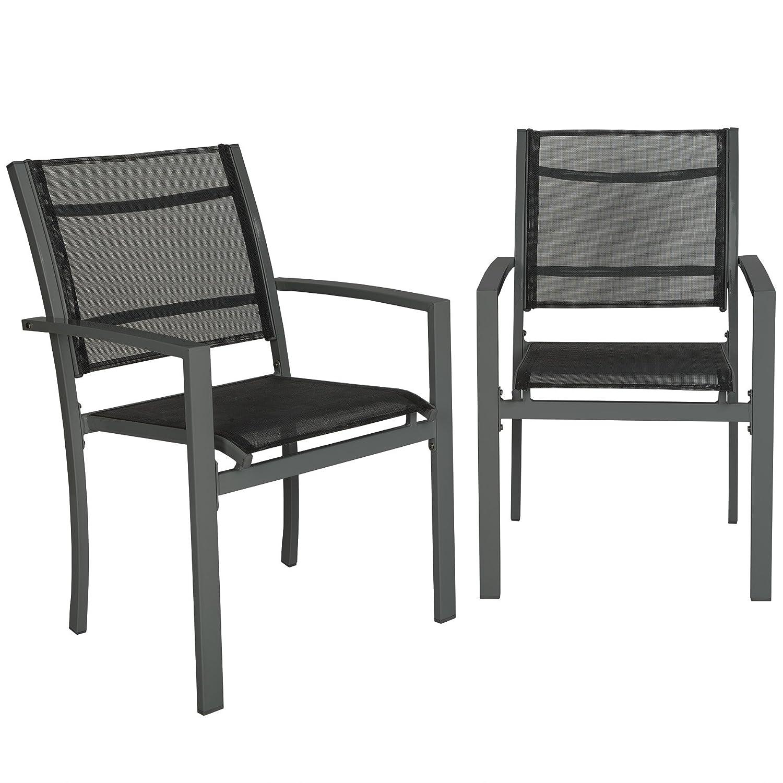 TecTake Set di 2 sedie da giardino poltrona campeggio metallo - disponibile in diversi colori - (Grigio | no. 402065)