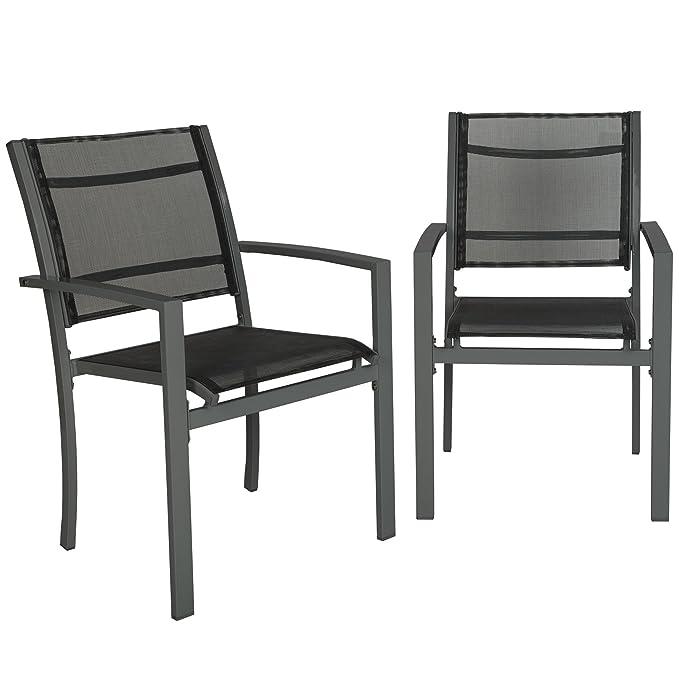 TecTake Juego de 2 Sillas de jardín sillón balcón terraza silla de exterior | varios modelos (gris oscuro | No. 402064)