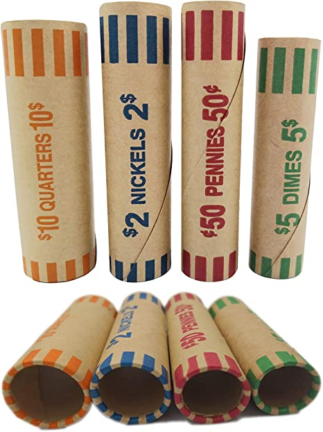 Made in U.S.A. 100 Assorted Coin Tubes Nickel Dime Quarter Penny Half-Dollar