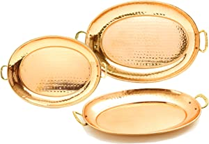 Old Dutch Hammered Copper Oval Trays with Cast Brass Handles, Set of 3