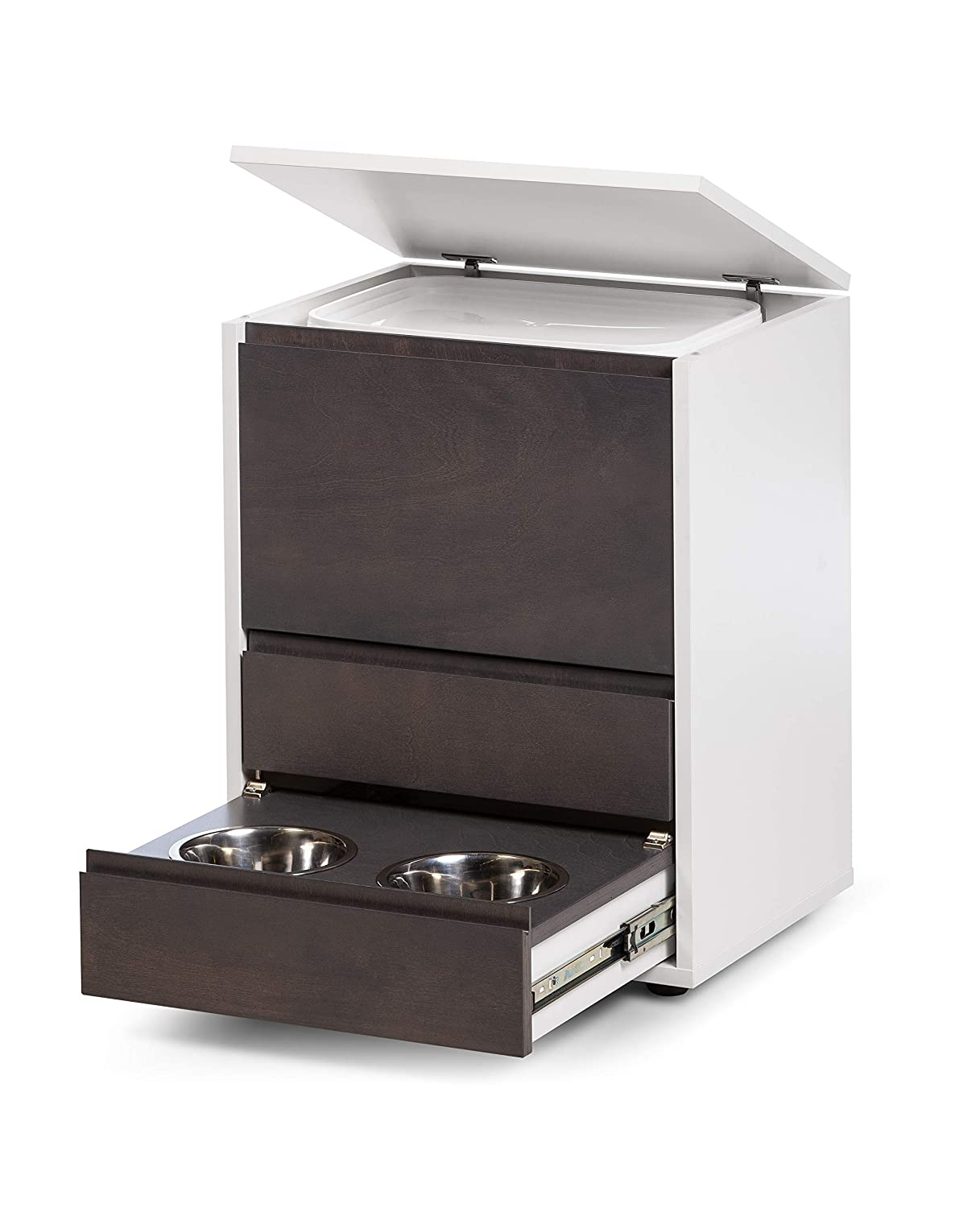 Alusta Furniture Dog Supplies Storage and Feeder   Raised Double Bowl Water and Food Station Elevated Bowls and Food Container Included   Fully Assembled