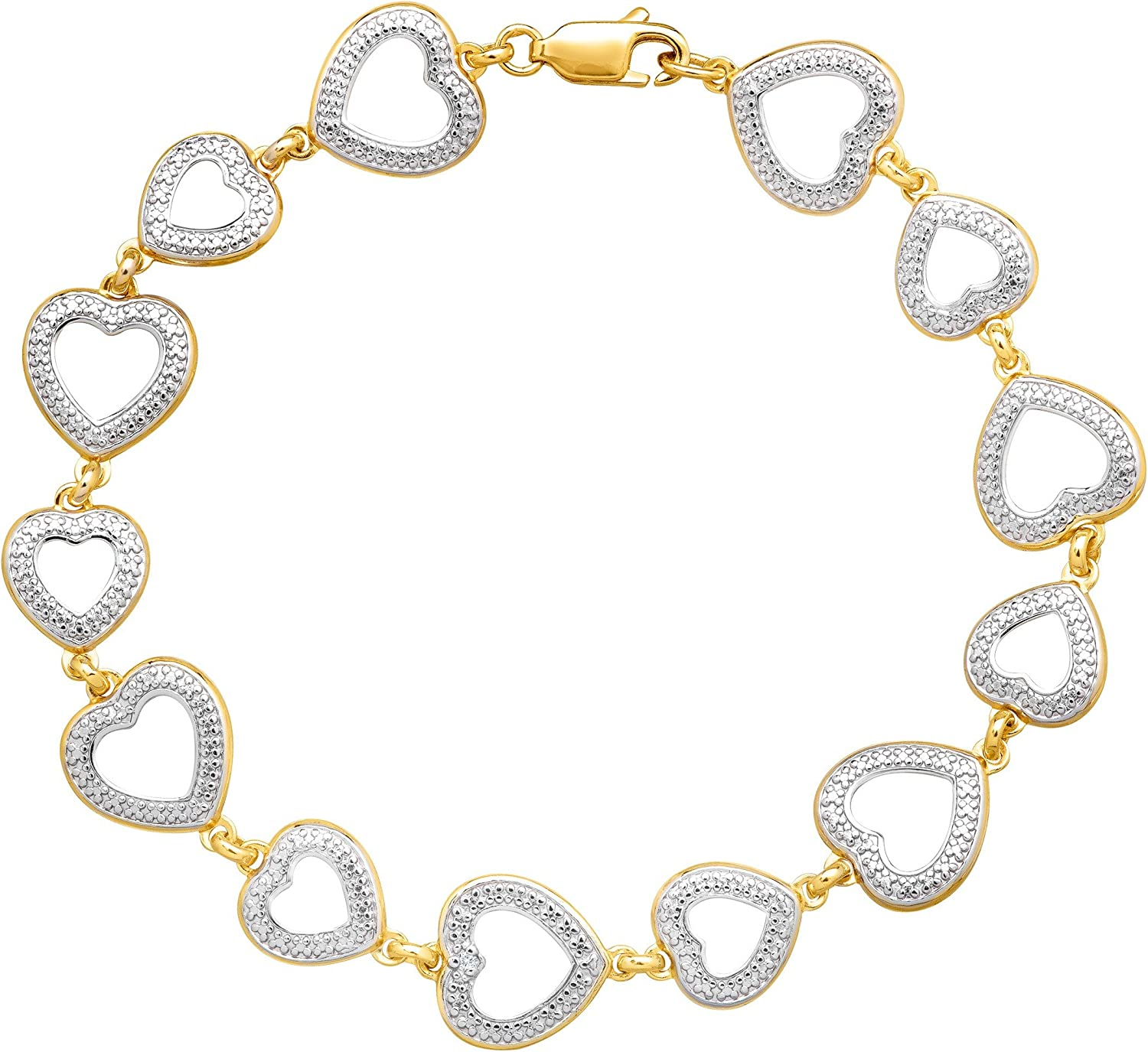 Heart Link Bracelet with Diamond in 14K Yellow Gold-Plated Sterling Silver