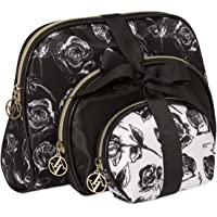 Adrienne Vittadini Set of 3 Dome Cosmetic Cases Black and White Floral