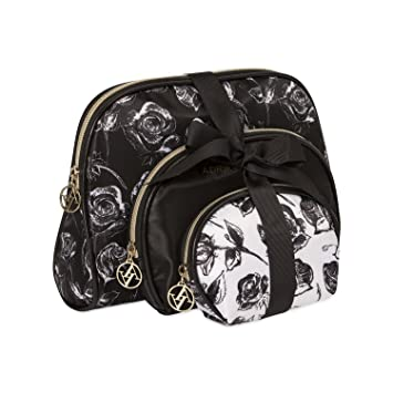 19c0a241d410 Adrienne Vittadini Cosmetic Makeup Bags: Compact Travel Toiletry Bag Set in  Small, Medium and...