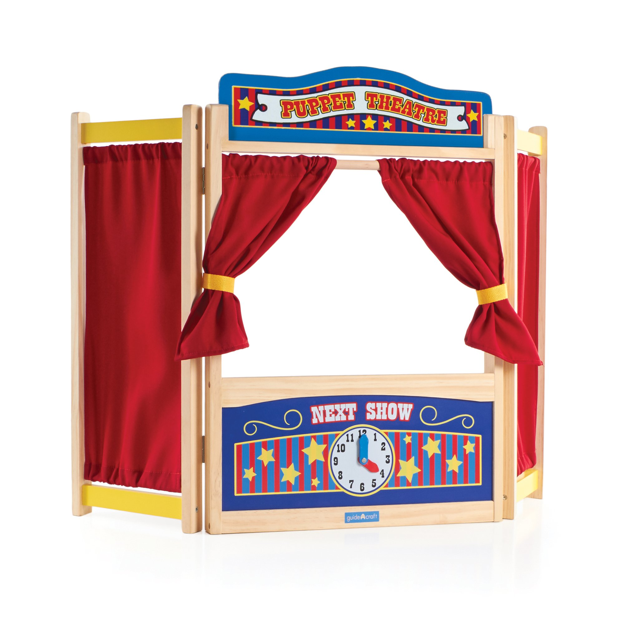 Guidecraft Wooden Tabletop Puppet Theater for Kids - Toddler's Foldable Dramatic Play Imaginative Theater W/Chalkboard, Curtains and Clock