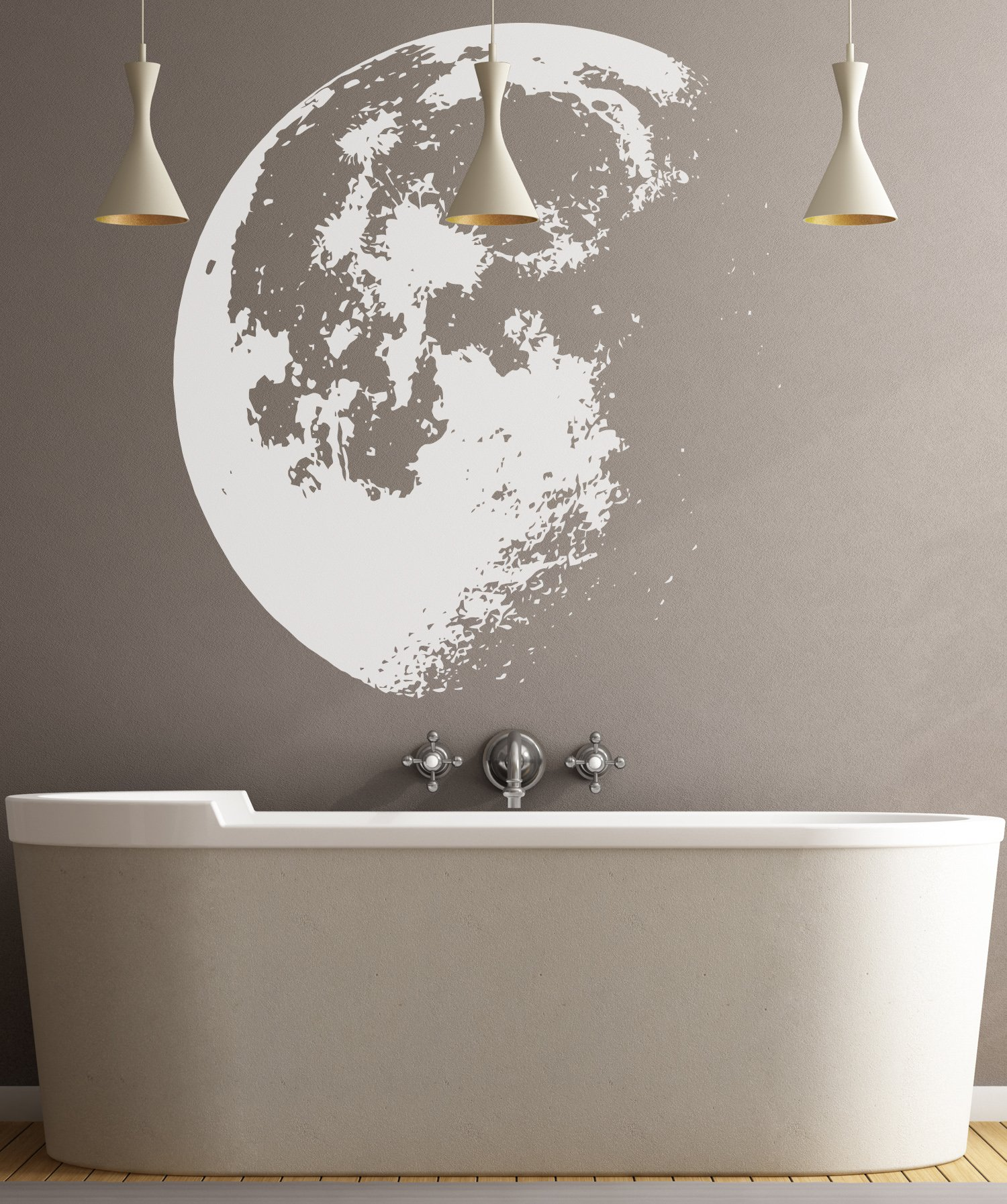 Large Crescent Moon Wall Decal Sticker by Stickerbrand - White color, Large 53in x 48in. #523A Easy to Apply & Removable.