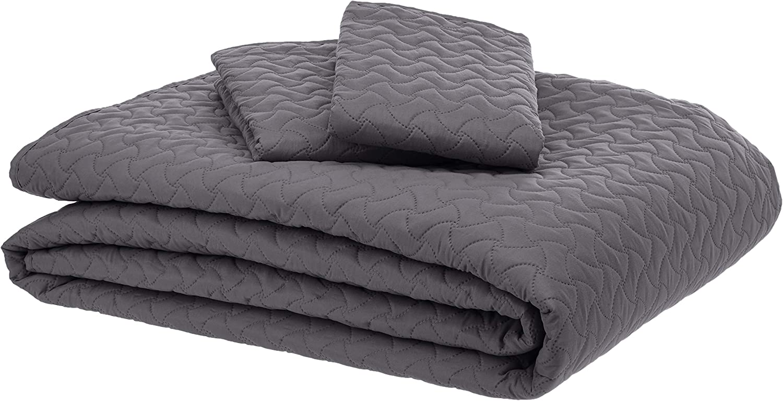 AmazonBasics Oversized Quilt Coverlet Bed Set - King, Dark Grey Wave