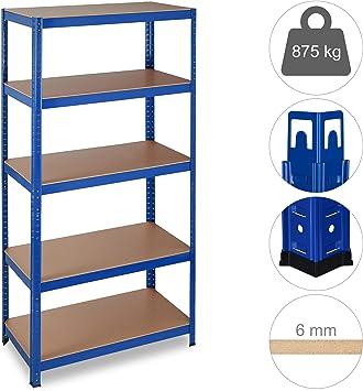 Relaxdays Estantería de Carga Pesada, 875 kg, Cinco estantes, Sistema de ensamblaje, 180x90x45 cm, Acero & MDF, Azul: Amazon.es: Bricolaje y herramientas