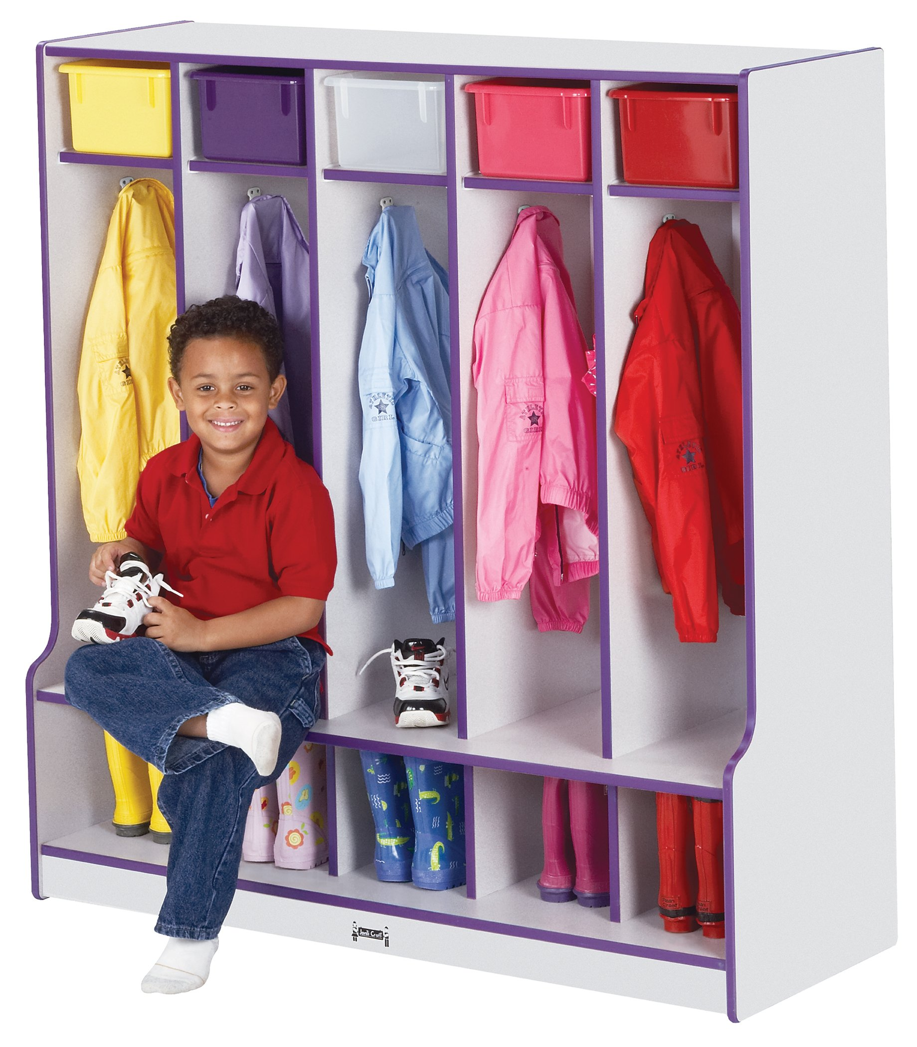 Rainbow Accents 0468JCWW004 5 Section Coat Locker with Step, Purple