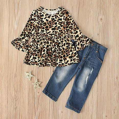 Toddler Kids Girls Casual O-Neck Long Sleeve Leopard Print Jeans Denim Dress New